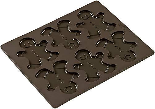 Lurch 65014 FlexiForm Keksform Lebkuchenmann / Backform für 6 Kekse aus 100% BPA-freiem Platin Silikon, braun