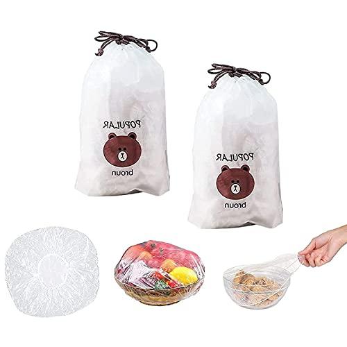 GDSAFS Fresh Keeping Bags, Reusable Elastic Food Storage Covers, Plastic Sealing Elastic Stretch Bowl Lids, Universal Kitchen Wrap Seal Caps (200pcs)