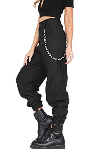 YACUN Damen Cargo Hosen Hip Hop Jogger Street Hose mit Kette Pants Jogginghose schwarz M
