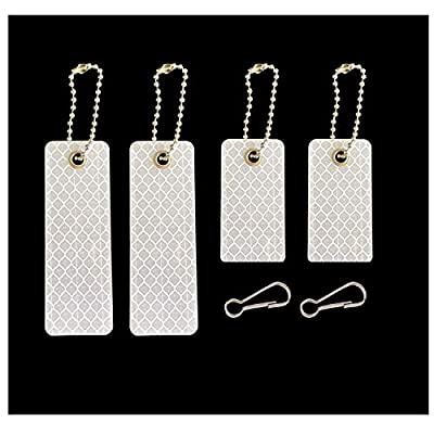 jujupups 4 pcs Reflective Tags Safety Reflector - Stylish Reflective Gear for pet, Jackets, Bags, Purses, Backpacks, Strollers and Wheelchairs (White)