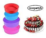 rosepartyh Silikon Backform Rund Kuchenform Cake Moulds Obstkuchenform Tortenbodenform 6