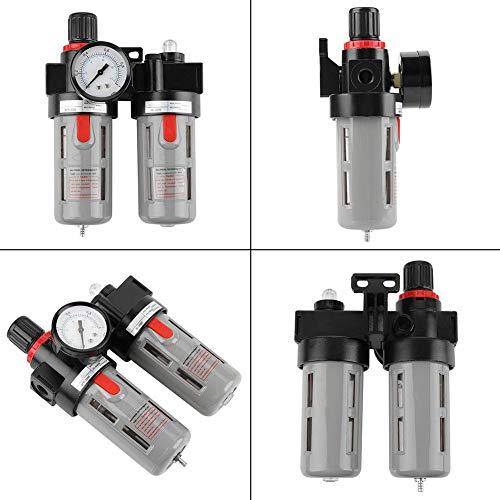 RENJIFAN Filtro de compresor, PT1/4 0.5-9.0kgf/cm² alta eficiencia de separación compresor de presión de aire medidor de filtro trampa regulador kit de herramientas para aceite agua