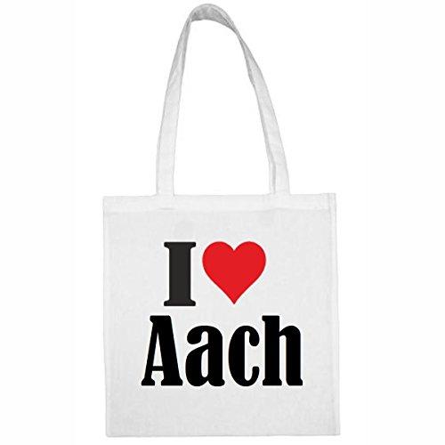 Tasche I Love Aach Größe 38x42 Farbe Weiss Druck Schwarz