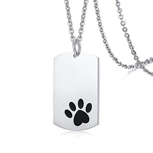 Collar Colgante Joyería Etiqueta De Perro con Collar De Colgantes De Pata De Mascota Collar De Acero Inoxidable De Color Plateado para Hombres
