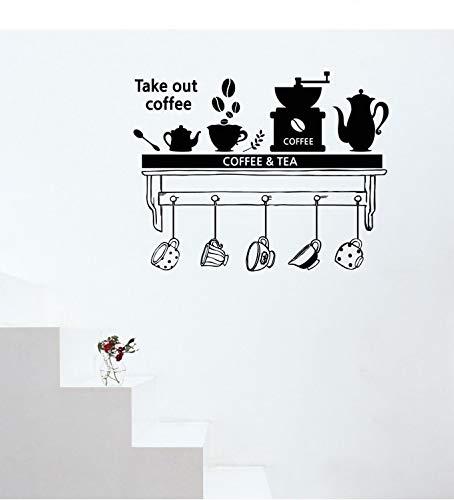 ASFGA Einzigartiges Kaffee-Werkzeug Wandkunst Aufkleber herausnehmen Kaffee Wandtattoo Home Küche Dekoration Cafe Cup Regal Vinyl Wandtattoo 57x41cm