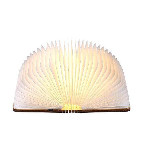Lámpara LED plegable de madera for libros de papel, con puerto USB recargable Magicfly, 500 lúmenes 3000K for decoración, tamaño pequeño, diseño magnético: regalo de San Valentín creativo (800 mAh, bl