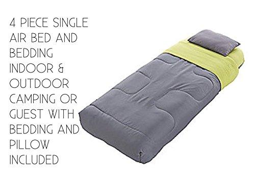RMW 4-teiliges Einzelbett Luftbett Camping oder Gäste mit Bettwäsche Kissen All-in-One Einzelbett Set Indoor & Outdoor Campingbett Luftbett