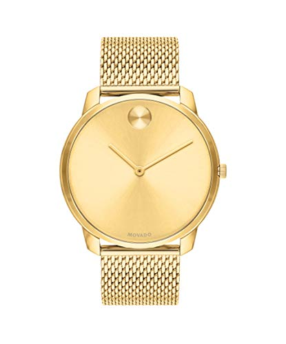 Bold, Yellow Gold Ion-Plated Stainless Steel Case, Gold Dial, Gold Ion-Plated Stainless Steel Mesh Bracelet, Men - Movado 3600588