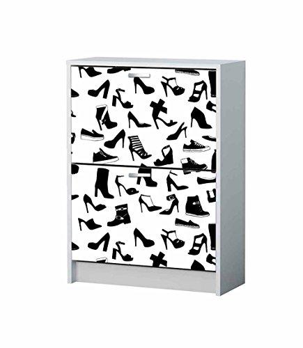 Vinilo Decorativo Mueble Zapatero Siluetas Zapatos | Varias Medidas 75x155cm | Adhesivo Resistente y de Facil Aplicación | Blaco y Negro | Pegatina Adhesiva Decorativa de Diseño Elegante |
