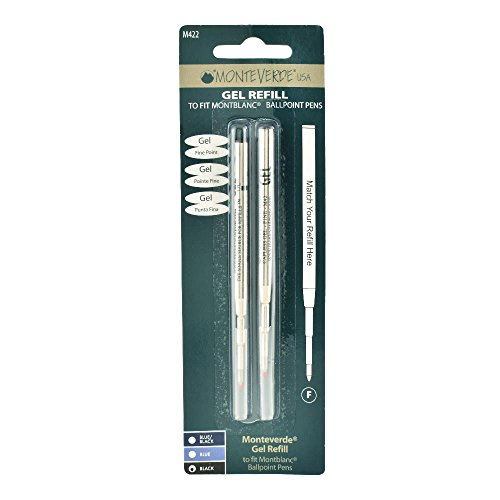 Monteverde Capless Cartridges, 2 Piece Pack, Fine Tip, Black Gel Ink, Refill for Montblanc Ballpoint Pen (M422BK)