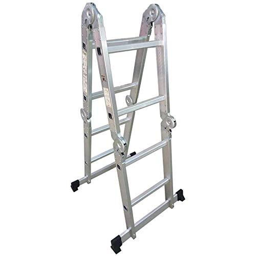 Mehrzweckleiter – klappbar, Aluminium, bis 150 kg, 4 Stufen, (4x2 Sprossen) – Multifunktionsleiter, Vielzweckleiter, Gelenkleiter, Universalleiter, Stehleiter, Aluleiter, Klappleiter