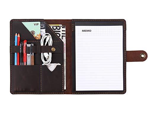 Leather A5 Writing Pad Portfolio for Men & Women, Handmade Vintage Leather Notepad Holder, Genuine Leather A5 Notebook Portfolio Organizer - Coffee