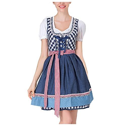 Damen midi Trachtenkleid Damen Trachtenrock Trachtenmode Kleid Dirndlbluse für Oktoberfest (Blau-1, XXL)