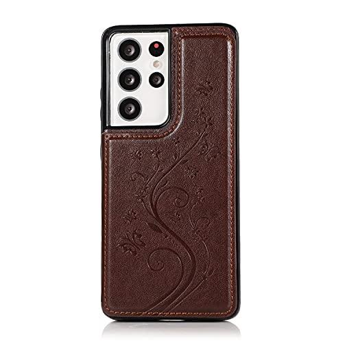 Case Cover, Per Samsung Galaxy S21 Custodia per cellulare Ultra, custodia in pelle PU di lusso [Due chiusura magnetica] [Slot per schede] Funzione Stand Funzione Farfalla Flower Pattern Durevole Durab