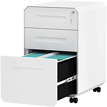 Yitahome 3-Drawer Rolling File Cabinet with Lock, Divider, Pencil Tray