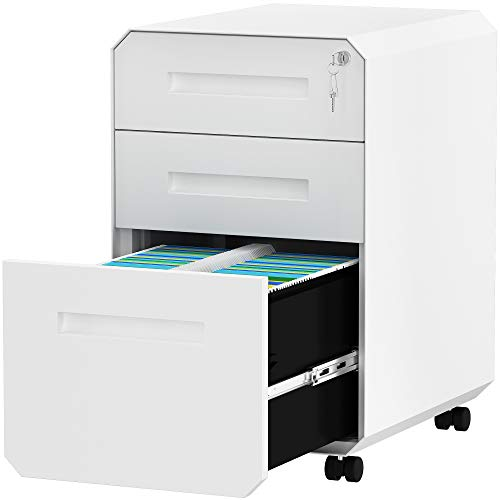 YITAHOME 3-Drawer Filing Cabinet Office Drawers with Lock, Divider and Pencil Tray, Portable Metal File Cabinet, Pre-Built Office Storage Cabinet (White)