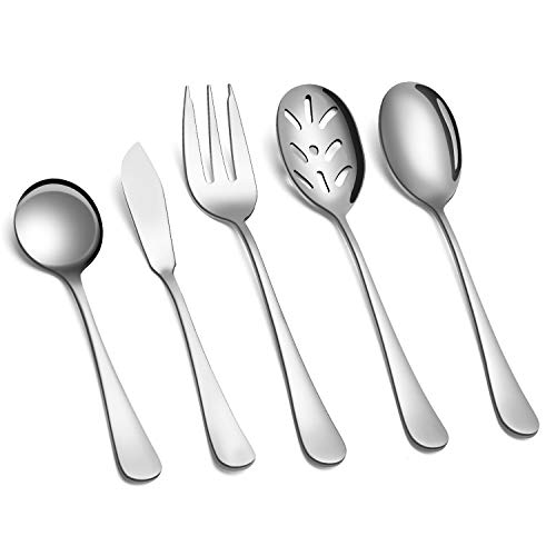 SHARECOOK 5-Piece 18/0 Stainless Steel Serving Set,Large Hostess Set with Round Edge,Mirror Finished,Dishwasher Safe -Spoons, Forks,Butter Knife& Slotted Spoon(Serving set, Silver)