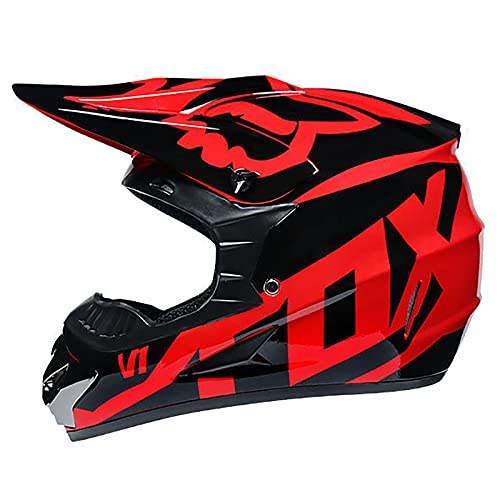 F&FSH Casco De Motocross, Negro Y Rojo con Gafas Mascarilla Guantes Casco De Bicicleta De Montaña De Cara Completa Conjunto De Casco para Adultos