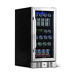 NewAir Beverage Refrigerator Cooler Built In Compressor with 96 Can Capacity - Stainless Steel