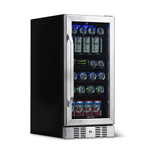 NewAir Beverage Refrigerator Cooler with 96 Can Capacity - Mini Bar Beer Fridge with Reversible Hinge Glass Door - Cools to 34F - ABR-960 - Stainless Steel