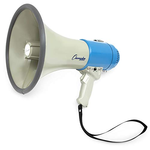 Champion Sports Megaphone with Siren, Wrist Strap, 1200 Yard Range - Powerful Bullhorn Loudspeaker with Adjustable Volume Control for Sport Events, Concerts, Crowd Control, 12 watts (white & blue), One Size, MP12W