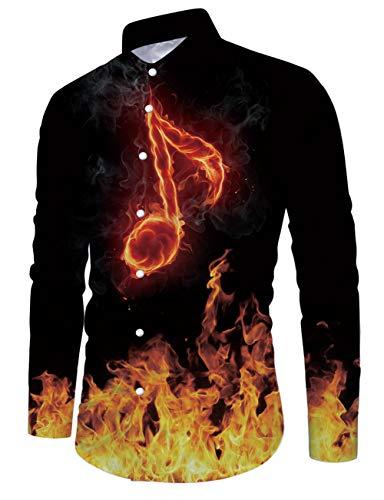 Fanient Herren Langarm Hemd 3D bedrucktes Shirt Button Down Casual Shirts Slim Fit Light Cotton Sommerkleid Shirt