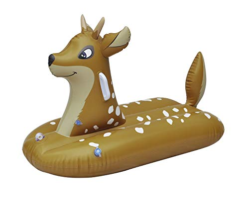 Jet Creations Sled Deer Snow Tube Inflatable 38 inches Long One Person Snow and Water Rider for Kids Fun-DEERM, Multicolor