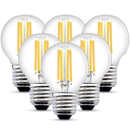 LED E27 Filament Lampe, 6W LED Edison Glühbirne G45 Leuchtmittel 540 Lumen, ersetzt 60W Glühfadenlampe, 2700K Warmweiß Glühbirnen, 6 Pack