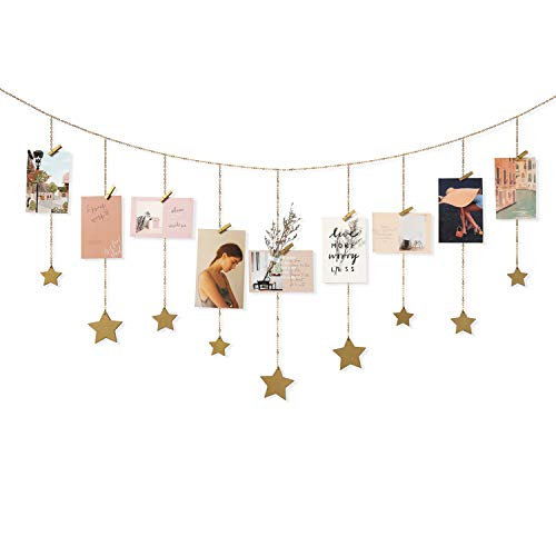 Mkono Hanging Photo Display Wood Stars Garland with Chains Picture Frame Collage with 25 Wood Clips Wall Art Decoration for Home Office Nursery Room Dorm Holiday Card Display, Gold