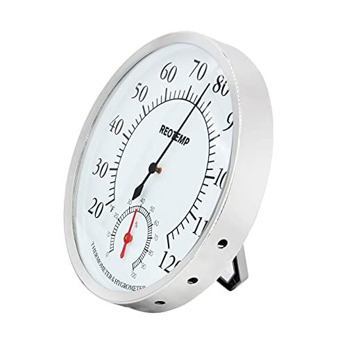 REOTEMP DTH5 Analog Desktop Thermometer Hygrometer, 5  Dial, 20 120F, Relative Humidity Gauge