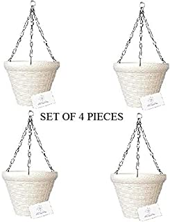 Unique Plastic Hanging Pot with Metal Chain (White, Pack of 4)