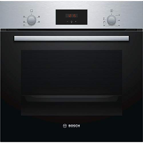 Bosch Serie 2 HHF113BR0B Stainless Steel Single Electric Oven with A Energy Efficiency, 66 Litre Capacity, Electronic Clock Timer And Enamel Interior