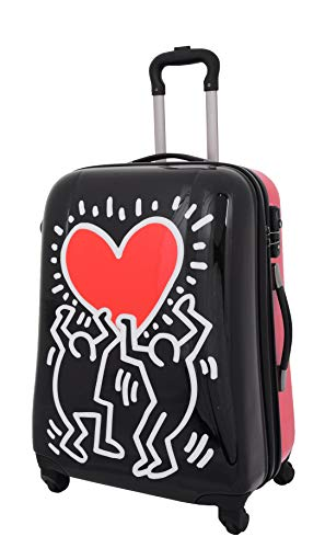 Medium Size Sturdy Hard Shell Check-in Suitcase 4 Wheels TSA Zipped Luggage HLG128 Heart