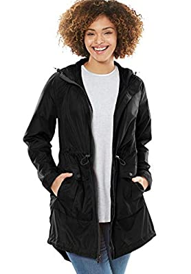Woman Within Women's Plus Size Packable High-Low Raincoat - 18 W, Black by Woman Within