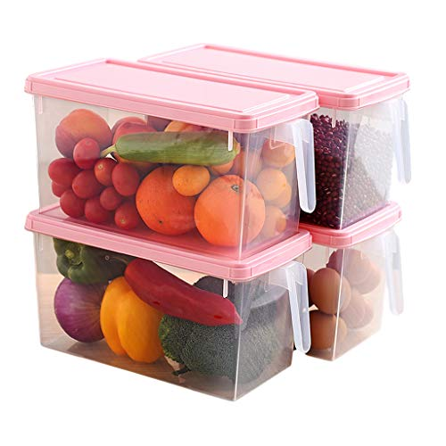 CJSWT Food Storage Container Set of 4 Pieces with of Stackable and Versatile Square Plastic Best for Storing Dry and Fresh Variety of Food and fluids,A