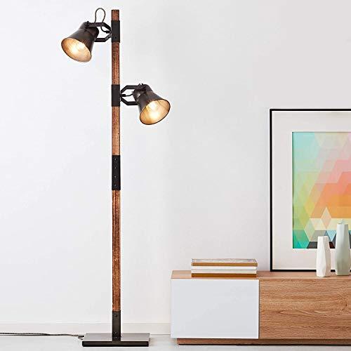 Lámpara de pie rústica con 2 focos, 2 bombillas E27, máx. 10 W, metal/madera, acero negro y madera