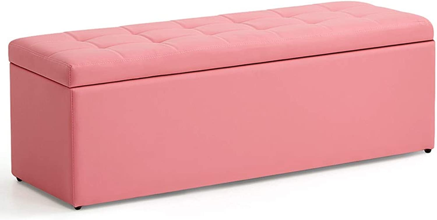 ZENGAI Pouffes Footstools Clothing Store Rectangle Change shoes Bench shoesbox Household Bed Tail Storage Sofa Lounge, Solid Wood Frame (color   Pink, Size   40x40x40cm)