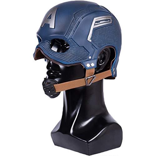 QWEASZER Nueva máscara de Casco de PVC Capitán América 3 Capitán América: Guerra Civil, Marvel Avengers Máscara COS Casco de Halloween Props Edición Ajustable,New Captain America-53~62cm