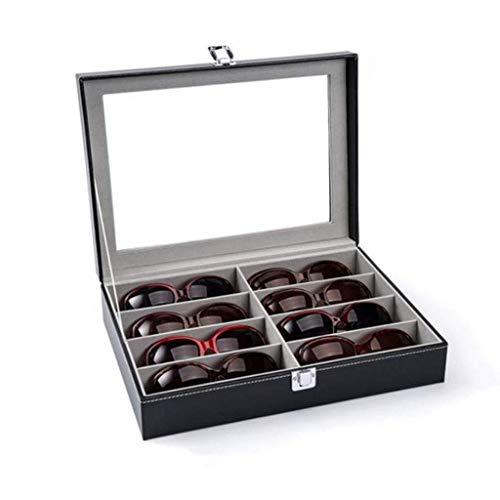 Peakfeng Eyewear Almacenamiento Organizador Gafas de Sol Mostrar Caja Desktop 8 Piezas Funda con Tapa de Vidrio para Gafas Joyas y Relojes