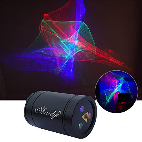 Sharelife Mini DJ Rechargeable Laser Lights, RGB Aurora Effect Projector USB for Home Disco Party Show Outdoor Stage DJ Dance Car Garden Holiday Portable Lights DP4-A-Black