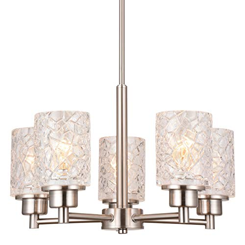 Alice House 18.1' Dining Room Chandeliers, Brushed Nickel Contemporary Light Fixture for Foyer, Entrance and Living Room AL9082-H5
