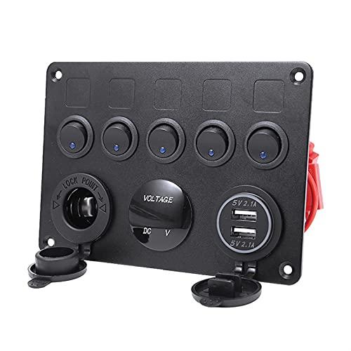 Interruptor de coche 1 UNID COCH AUTO 5 GANG 12V 24V 15A Panel de interruptores Multi-Funciones de interruptores On-Off Toggle Voltímetro USB Cigarette Encendedor Etiqueta Etiqueta de etiqueta Automóv