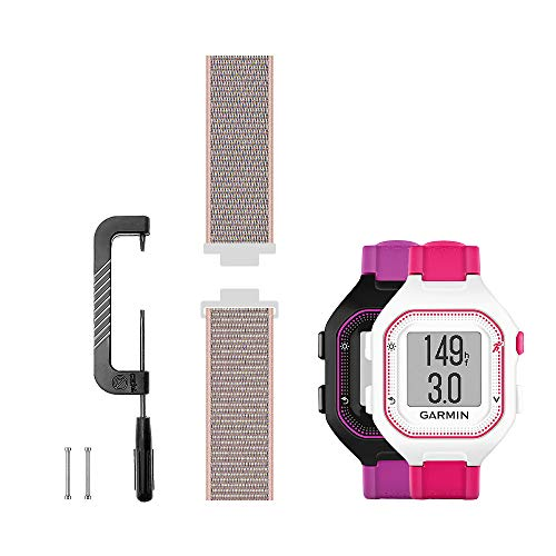 Leiou Woven Nylon Strap Compatible with Garmin Forerunner 25 Band Replacement Sport Mesh Watchband, Works with Small Version Watch, Pink Sand