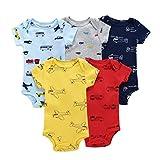 5er Pack Baby Jungen Kurzarm Body Kleinkind Strampler Baumwolle Weste Sets 12-18 Monate