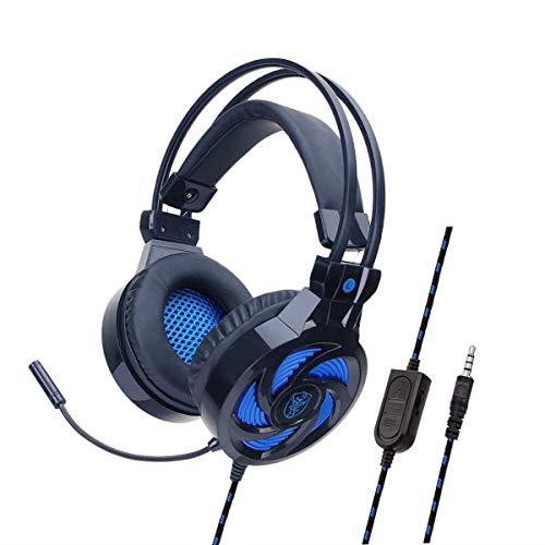 YOUPECK - Auriculares con micrófono para PS4, Xbox One, Nintendo Switch, PC, PS3, Mac, Ordenador portátil, Auriculares para PS4, Xbox One Negro Negro-Azul
