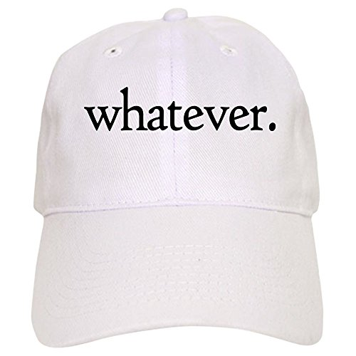CafePress Whatever Baseball Cap with Adjustable Closure, Unique Printed Baseball Hat White