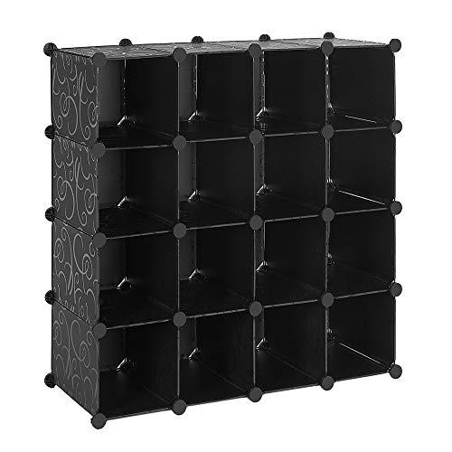 Schoenenkast kledingkast kast kast kubus kast kast kast kast 16 vakken 92,5 x 37 x 92,5 cm (kleur zwart)