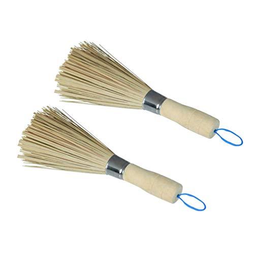 YARNOW 2 Piezas Batidor de Limpieza Cepillos de Wok de Bambú Tradicionales para Lavar Platos Herramientas de Cocina Cepillos de Limpieza de Bambú Natural Tradicional