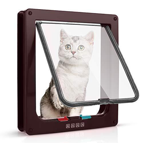 Katzenklappe Hundeklappe 23.5*25*5.5cm 4 Wege Magnet-Verschluss für Katzen und kleine Hunde - Hundetür Katzentür Haustierklappe (L, Braun)