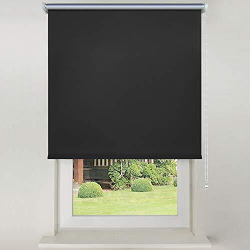 Hengda Sonnen Rollo 120x200cm Schwarz Klemmfix Verdunklungsrollo Verdunkelung für Fenster & Türen für Sonnenschutz Wand-und Deckenmontag